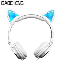 Foldable Flashing Glowing Cat Ear headphones and Earphones Gaming Stereo Headset Earphone HiFi Quality headphones for kids girls