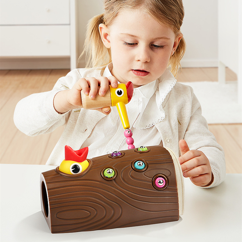 Woodpecker Catch Worms Game Magnetic Wooden Toys Kids Early Educational Toy For Children Baby Learning Wooden Blocks Boys Toys