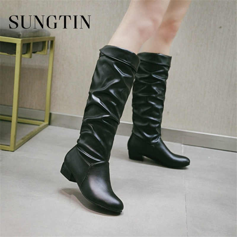 Sungtin 2019 New Women Faux Leather Knee High Riding Boots Lady Casual Flat Boots Black White Female Basic Long Boots Big Size