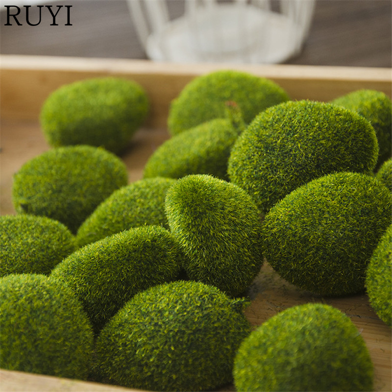 1 Bag artificial green moss ball fake stone simulation plants DIY decoration for shop window hotel home office plants wall decor(China)