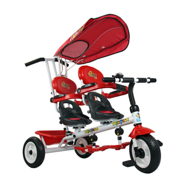 high quality steel frame rotate seat twins double baby tricycle trolley 2 color for available