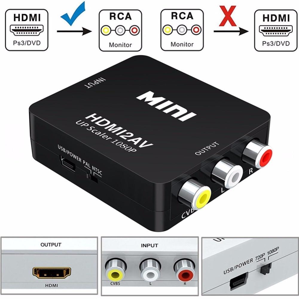 1080P Mini HDMI to AV RCA AV Composite Adapter Converter ...