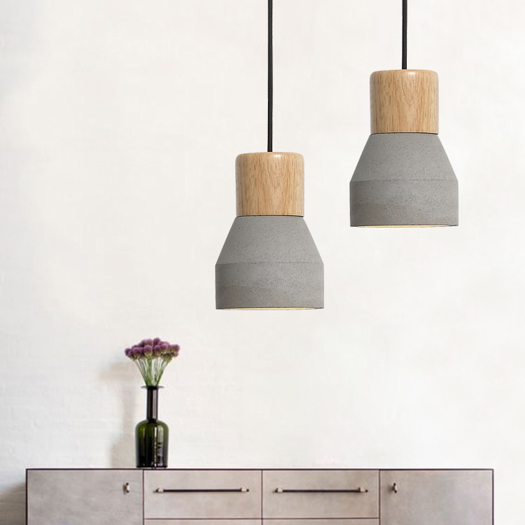 Free shipping hot-selling cemet hanging <font><b>lamp</b></font> <font><b>vintage</b></font> wooden concrete light fixture with fabric wire home decoration window shop image