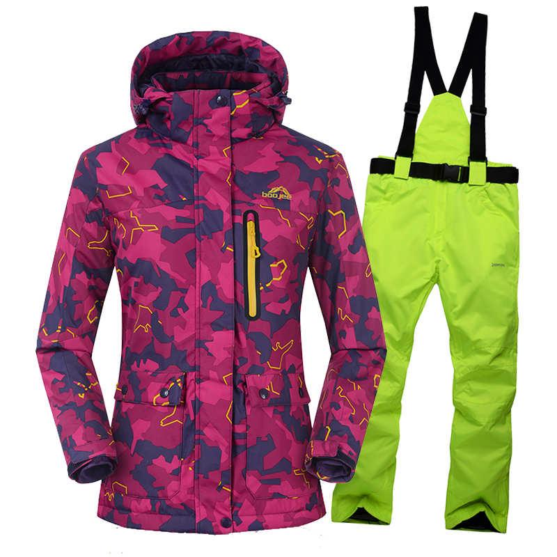Imperméable coupe-vent vêtements de neige haute qualité Ski costumes veste + pantalon femmes costume de Ski en plein air épaississement super-chaud