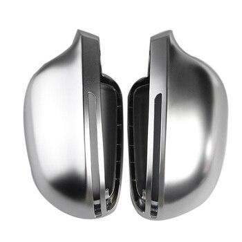 الفضة ماتي الكروم مرآة الرؤية الخلفية غطاء قذيفة حماية كاب لأودي B8 A3 S3 Rs3 A4 A5 A6 S4 Rs4 S6 Rs6 Q3 زوج