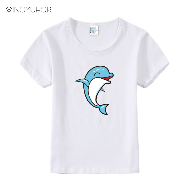 Dolphin Design Children 39 s Cute T Shirts Boys Girls Cartoon Dolphine Summer O Neck Tops Tees Baby Kids Casual Clothes in T Shirts from Mother amp Kids