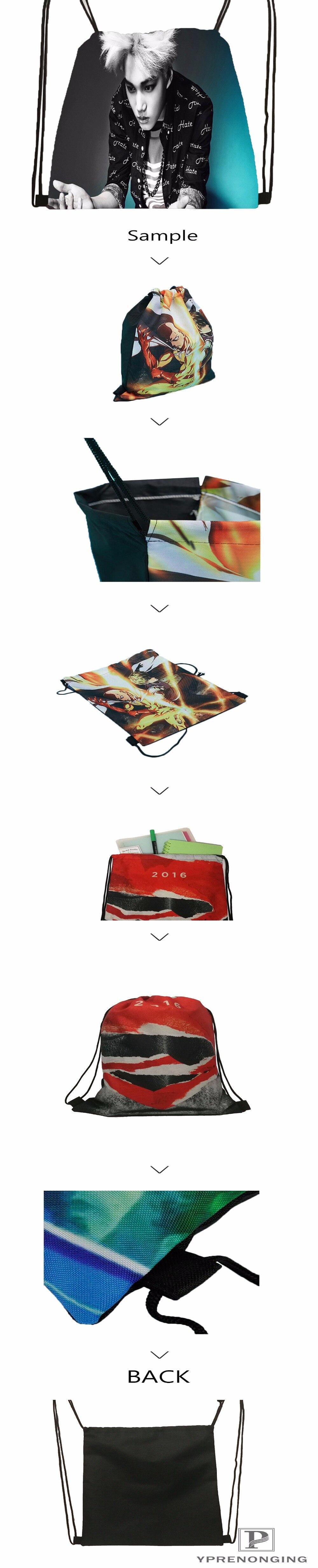 Пользовательские Брюс-Спрингстин-@ 03-Drawstring сумка-рюкзак милый рюкзак дети сумка(черный назад) 31x40 см#180611-03-118