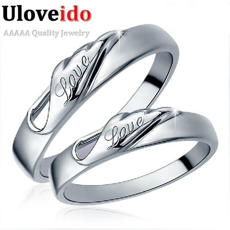 1c2210a80f44 Anillo de amor Uloveido para los amantes anillos de pareja de compromiso  para hombres y mujeres de ...