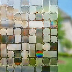 Image 3 - 3D Laser Colorful Foil Window Decorative Film Static Privacy Film Glass Sticker Crystal Frosted Opaque Sliding door Home Decor
