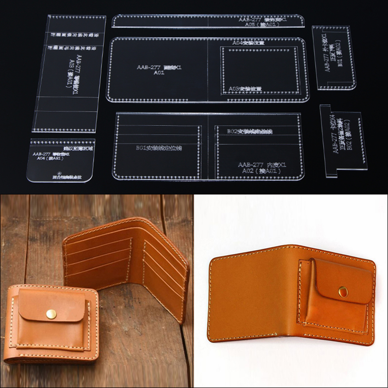 1set Clear Acrylic Template Pattern For DIY Handmade Short Wallet Messager Bag Leather Craft Sewing Pattern Sewing Stencils