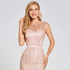 Image 5 - Vestido de noche de trompeta largo, rosa, sin espalda, económico, con cuello redondo, de encaje, para fiesta de boda, formal, tipo sirena