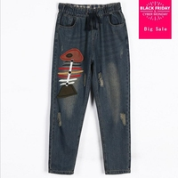 2XL 6XL High Quality Embroidery washes Ripped jeans female 2018 fashion new lace up holes casual loose denim wide leg pants L830