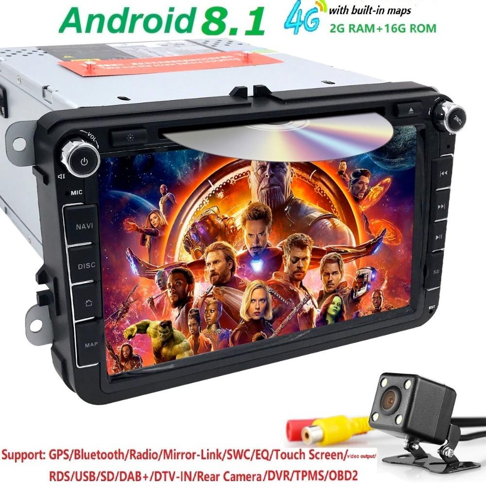 Android 8.1 car dvd player gps 2Din 8Inch For Volkswagen V W Skoda POLO PASSAT B6 CC TIGUAN GOLF 5 Fabia wifi/4G 1080p free camAndroid 8.1 car dvd player gps 2Din 8Inch For Volkswagen V W Skoda POLO PASSAT B6 CC TIGUAN GOLF 5 Fabia wifi/4G 1080p free cam