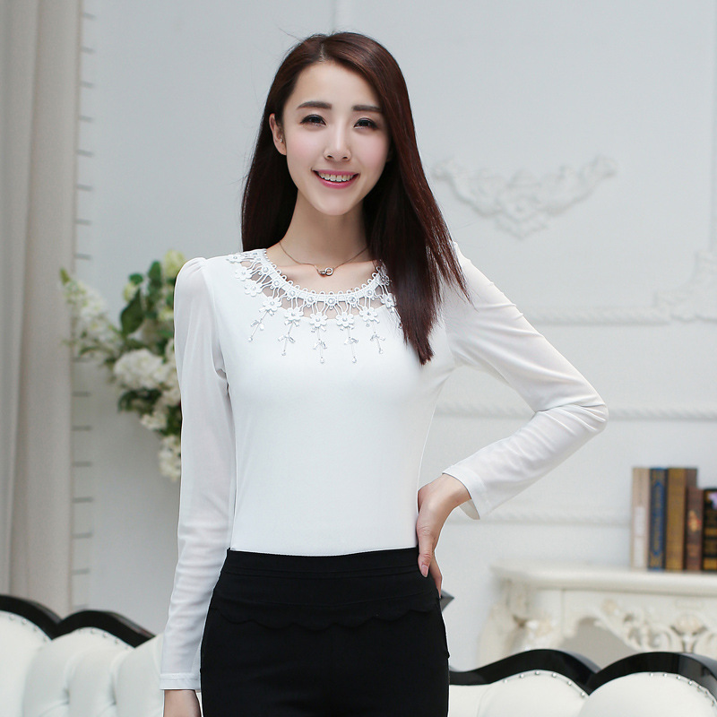 7eb5d098e Womens Long Sleeve Shirt New Arrivals 2017 Autumn Korean Clothing Sexy  O-neck Cute Slim Blouse Black And White Hollow Out XXL