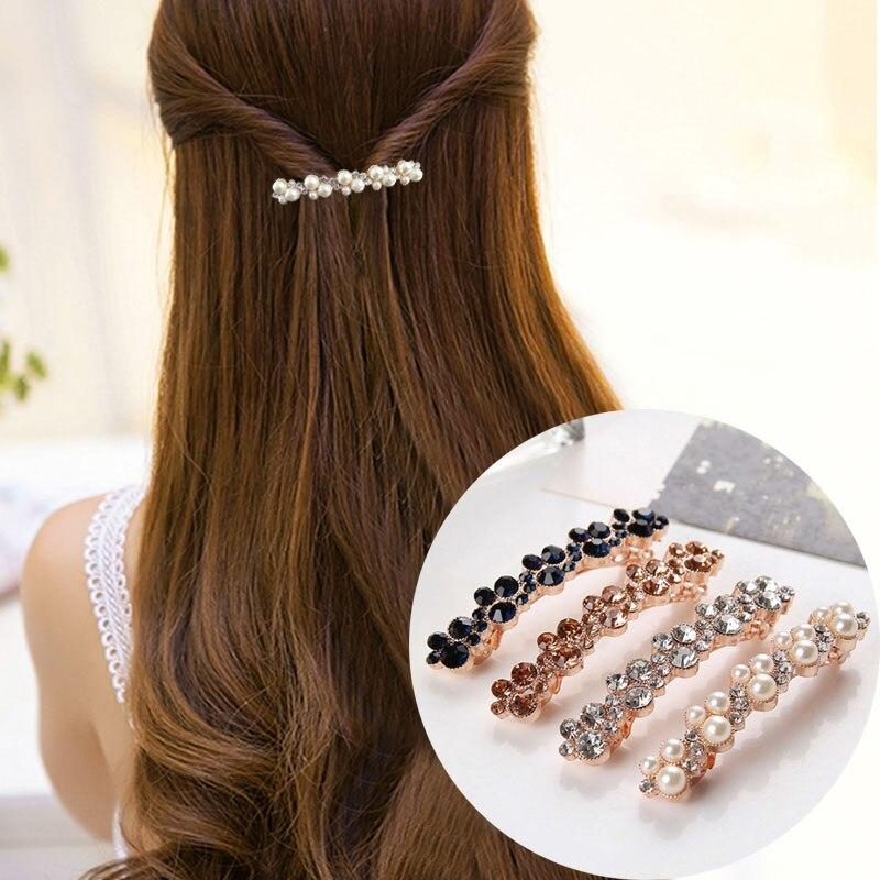 1 Pc Verkauf Hohe Qualität 5 Farben Kristall Perle Elegante Frauen Barrettes Haar Clip Haar Zubehör Kaufen Sie Immer Gut