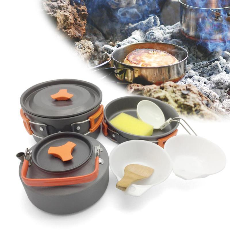 8 unids/set portátil utensilios de cocina tazón olla cuchara para acampar al aire libre senderismo mochila de viaje de vajilla de Picnic para 2-3 personas