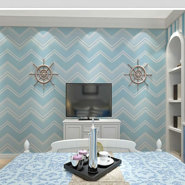 Ordinaire Stripe Wave Wood Wallpapers PVC Self Adhesive Vinyl Wallpaper Bedroom  Furniture Blue Student Room Papel Adhesivo