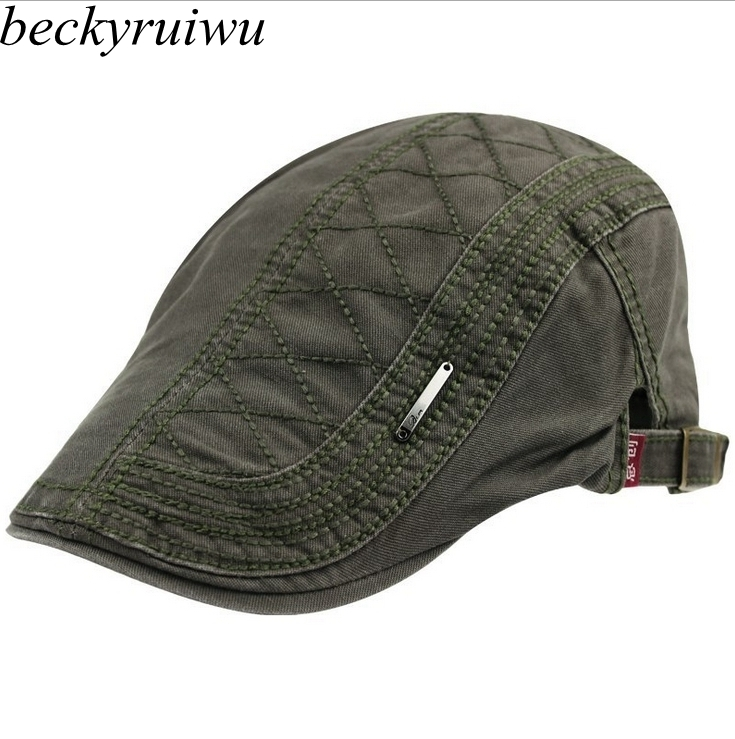 192fd37848e Male Spring Summer Outdoors Pure Cotton Peaked Cap Men Casual Flat Beret Hats  Women Solid Newsboy