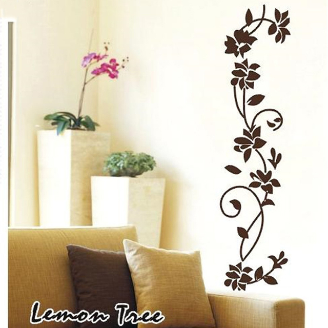 Decals Wallpaper Removable Home Decoration Black Flower Vine Family Living Room Wall Sticker