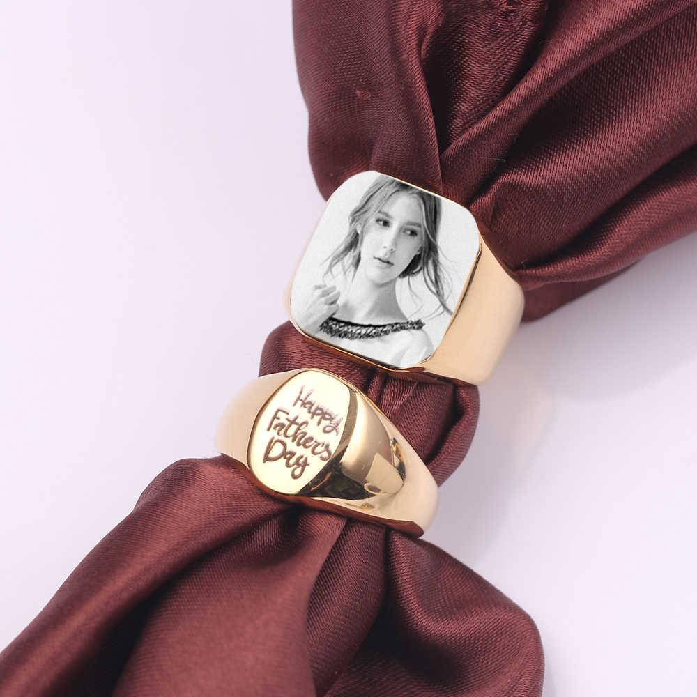 13mm Personalizar Personalizado Anel de Presente Para As Mulheres Homem Nome Gravado Texto/Padrão de Aço Inoxidável Anel de Charme Casual Customize jóias