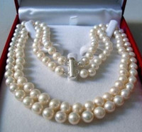 Hot Sell Noble FREE SHIPPING AAA 2 Rows 8 9MM WHITE AKOYA SALTWATER PEARL NECKLACE