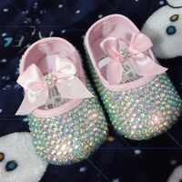 Free Shipping Princess Rhinestone Pink Baby Shoes Handmade Pearl Baby Toddler Bling Bling Shoes Lovely Fashion