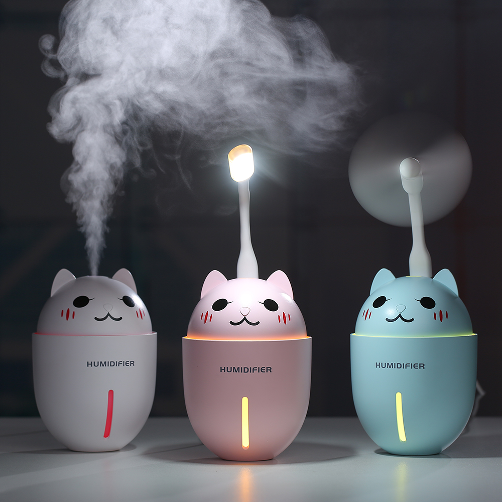 320ML 3D Unique Adorable Cats Pet USB Air Humidifier Ultrasonic Cool-Mist  Mini Humidifier With LED Light Mini USB Fan 3 In 1