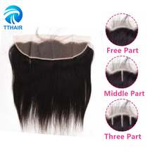 TTHAIR Lace Frontal Closure Brazilian Straight Human Hair 13x4 Ear To Ear Pre Plucked With Baby Hair Swiss Lace Closure(China)