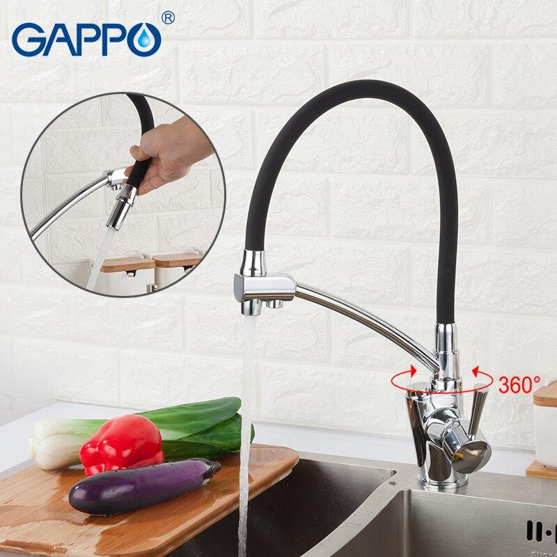 GAPPO кухонный кран золотой и черный кран для воды фильтр Смесители смеситель Вращающийся кухонный очиститель воды смесители на бортике - 3