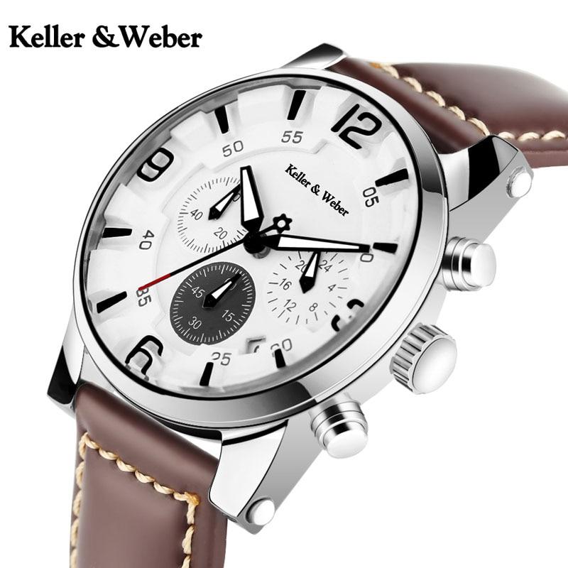 KW Keller & Weber 3ATM Waterproof Men Watches HQ Chronograph Military Genuine Leather Band Top Sport Quartz Wristwatch Male Gift keller