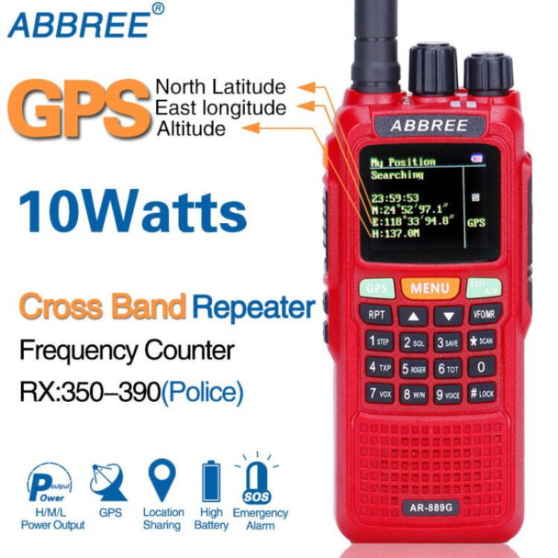 ABBREE AR 889G GPS 10W Powerful Walkie Talkie Cross Band Repeater Dual Band Dual Receiving Hunting
