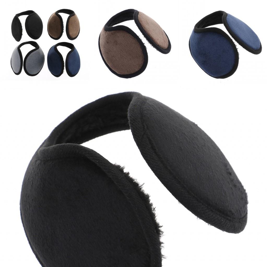 1PC Male Female Earmuff Solid Color Winter Ear Muff Wrap Band Earlap Black Coffee Gray Blue Ear Warmer For Women Men