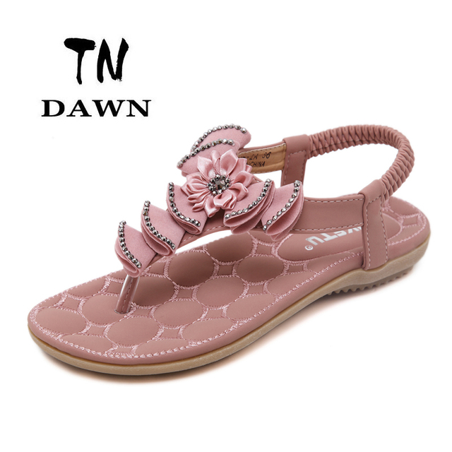 fd98bb8b30b563 Hot Sell New Bohemian Style Flat Sandal Clip Toe Solid Color Ladies Sweet  Crystal Flower Plus Size Flip Flops Casual Beach Shoes