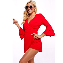 2019 women's jumpsuit sexy V-neck trumpet sleeves thin jumpsuit red black jumpsuit collared overlap v neck jumpsuit