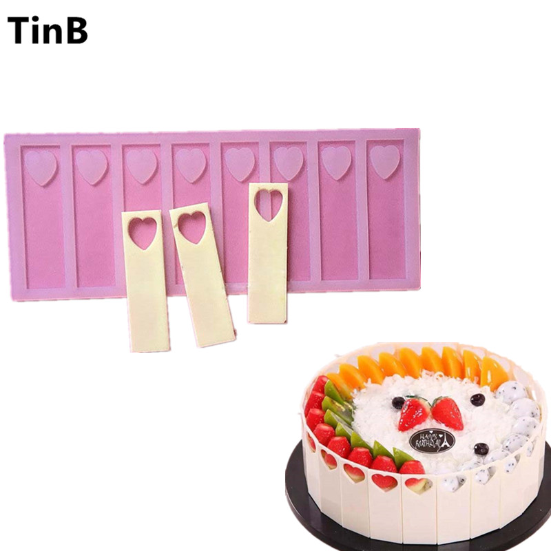 9cm hollow heart DIY Silicone Chocolate Mold Bakeware Birthday Cake Cookie Decorating Tools Chocolate Mold Stencil Muffin Pan