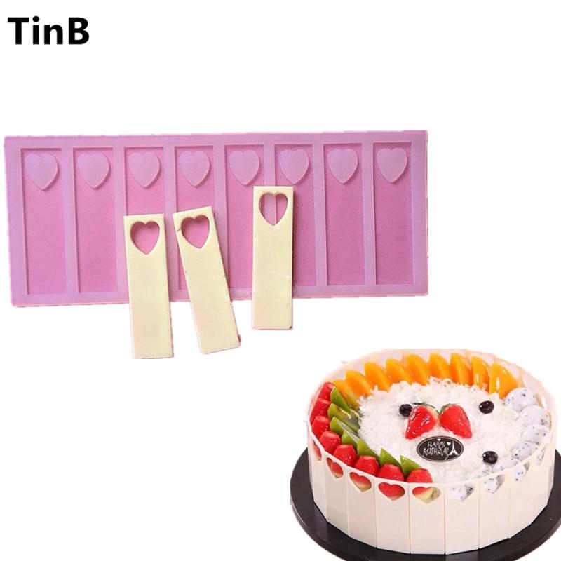 9cm 빈 심장 DIY 실리콘 초콜릿 금형 Bakeware 생일 케이크 쿠키 장식 도구 초콜릿 금형 스텐실 머핀 팬
