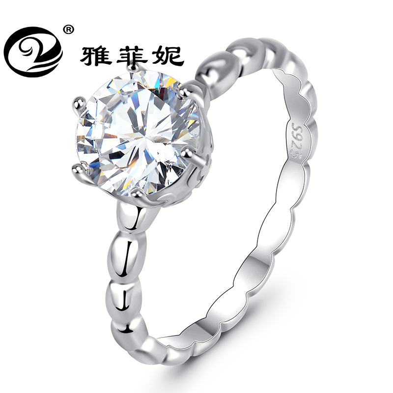Silver Jewelry Crystal-Ring Claw Gold Single-Mustard The Six United-States Valentine's-Day-Gifts