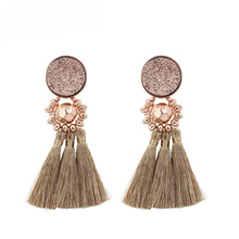 STRATHSPEY Gold/Silver/rose gold Color Tassel Earrings For Women Vintage Beads Resin Fringe earring Fashion Jewelry Femme strathspey green color tassel earrings for women vintage long pompom fringe earring bohemia beads earing jewelry