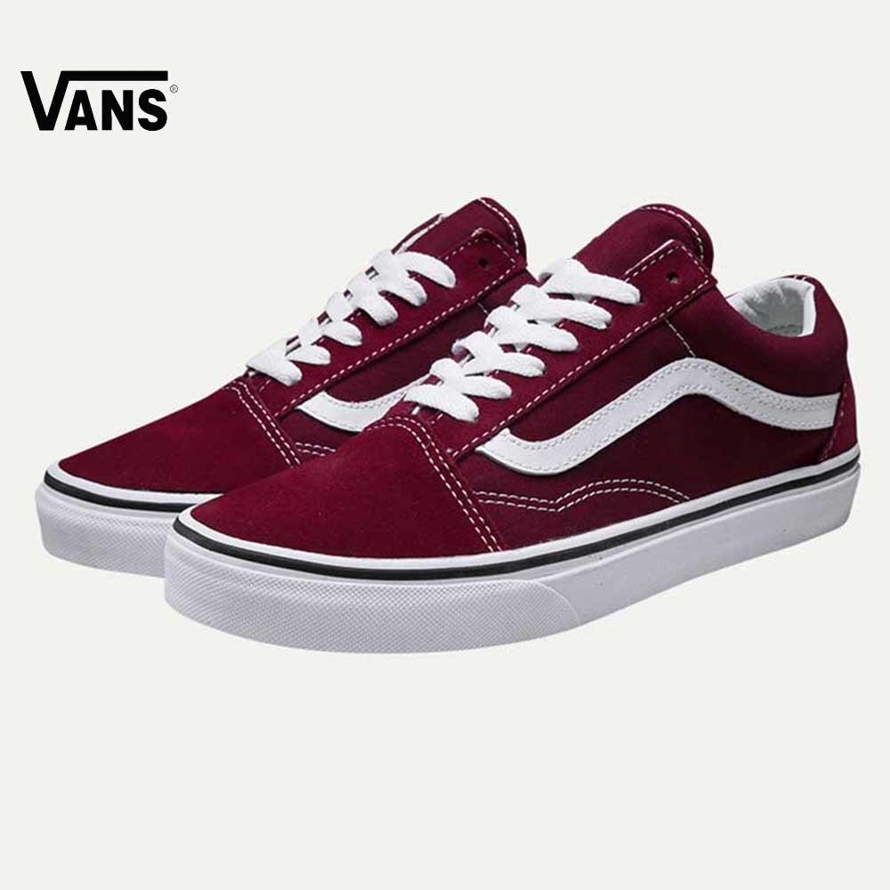 цены на Original Vans Old Skool Red Colour Low-Top Men & Women's Skateboarding Shoes Sport Shoes Canvas Sneakers free shipping в интернет-магазинах