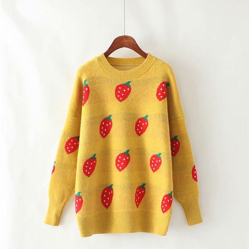 Sh. sa 2019 inverno nova moda coreana camisola e jumpers manga longa morango bonito menina harajuku pulôver suéteres puxar