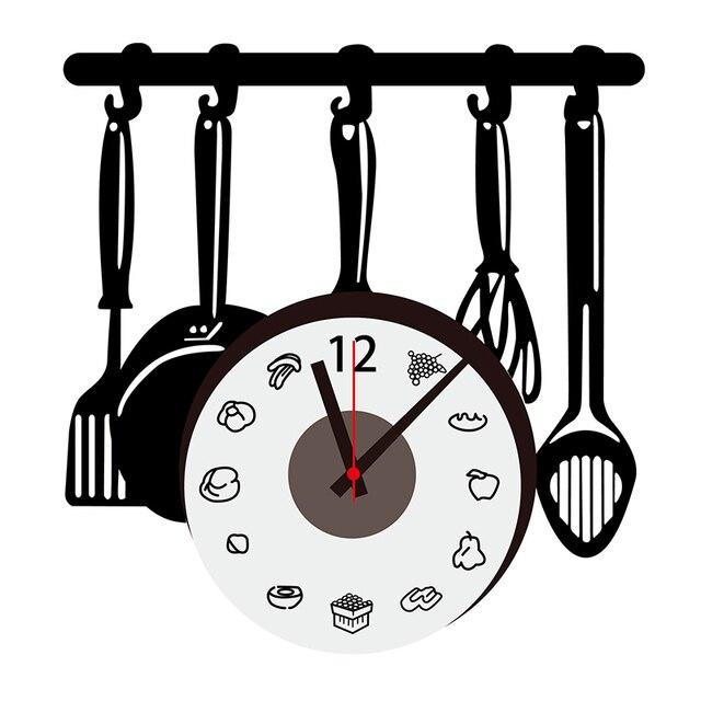 Utensili da cucina adesivi murali orologio ultime grande orologio di ...