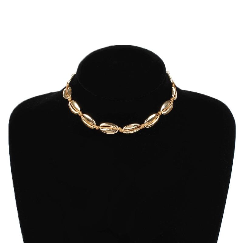 Bohemian Fashion Alloy Shell Rope Chain Necklace Statement Women Beach Short Clavice Choker Jewelry