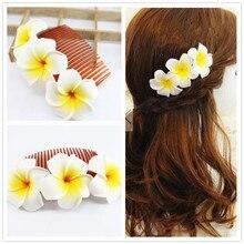 LARGE 12cm length  9 kinds of color you choose Fabulous Hawaii Plumeria flowers Foam Frangipani Flower comb bridal hair clip