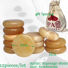 wholesale 12pcs/lot 6x6cm yellow jade massage body stone gift bag