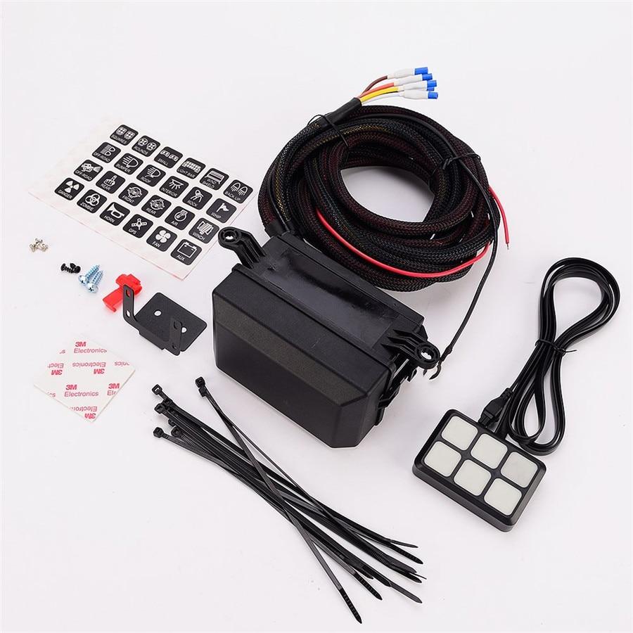 6 clés LED panneau de commande relais boîte câblage harnais camion bateau w/autocollant 12 V DC puissance