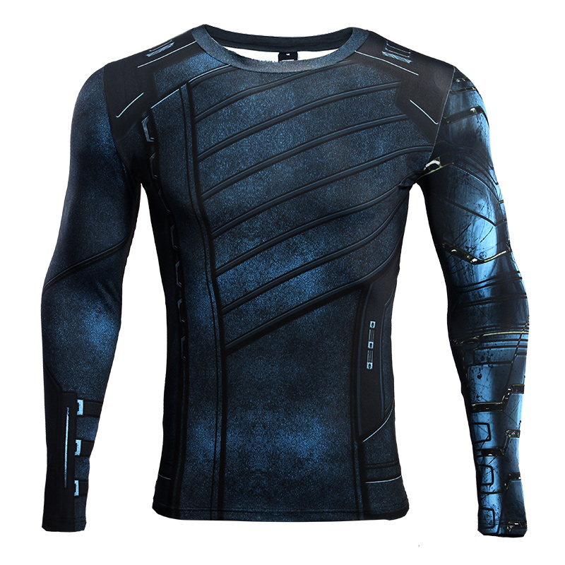 Avengers 3 Winter Soldier Robotic arm Long Sleeve Mens T Shirts Summer For 3D T Shirt Gym Clothing TOP For Male Cosplay Costumes in T Shirts from Men 39 s Clothing