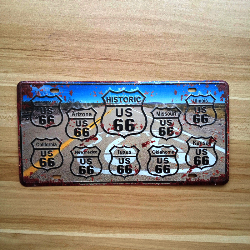 Aliexpress.com : Buy Metal Tin Signs License Plates route 66 road ...