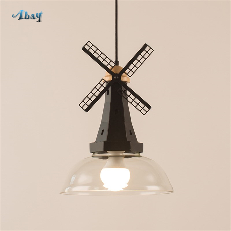 Art Deco Novel Hanging Lamp Led Wood Windmill Romantic Children Room Decoration Dining Room Pendant Lights Metal Art for GardenArt Deco Novel Hanging Lamp Led Wood Windmill Romantic Children Room Decoration Dining Room Pendant Lights Metal Art for Garden