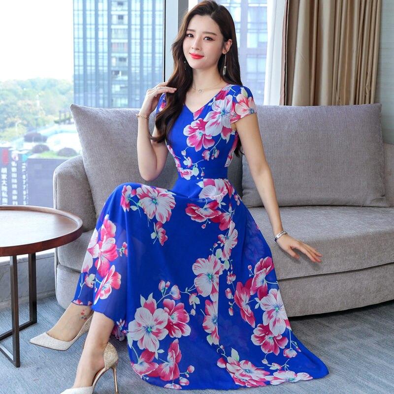 Plage Mode D'été Robes pourpre Bleu Décontracté V Imprimer Nouveau Manches 2019 Boho Robe Femmes De Courtes Fleur Plissées cou En Bleu Mousseline Soie zOwzHnqr