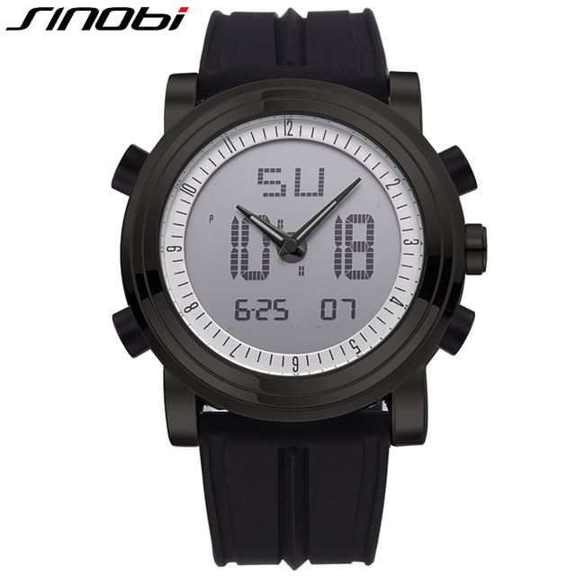SINOBI 2016 Mens Watches Top Brand Luxury Digital Analog Display Silicone Band Fashion Watch Men Multifunction Relogio Masculino